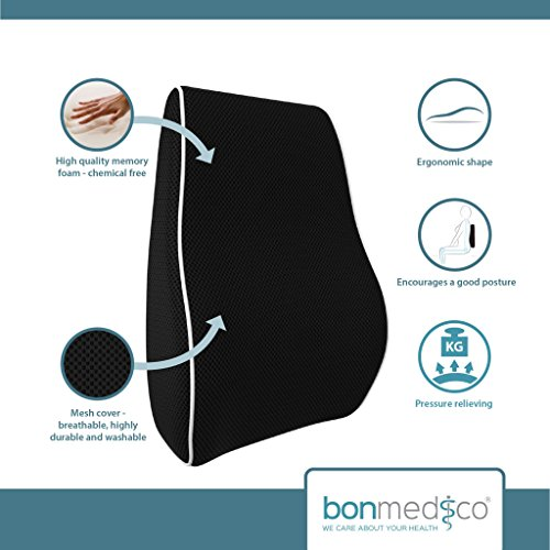 Bonmedico Lumbar Support Cushion, Back Cushion For Best Lower Back Support, Memory Foam Lumbar Support Pillow, Back Support Pillow For Car, Home Or Office, Lumbar Pillow In Black, Standard