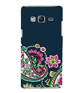 FUSON Seamless Black Floral Pattern 3D Hard Polycarbonate Designer Back Case Cover for Samsung Galaxy Z3 Tizen :: Samsung Z3 Corporate Edition