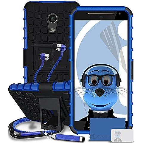 Motorola Moto G (2014) Moto G2 2nd Generation Blu Casi Shock Proof Rugged Hard con Visualizza Stand - LCD Screen Protector - retrattile Mini Stylus Pen - 3,5 millimetri ZIPPER mani Cuffie stereo Gratuiti con Mic