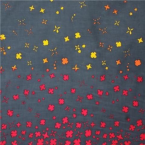 tessuto grigio scuro fiori doppio bordo Andover USA