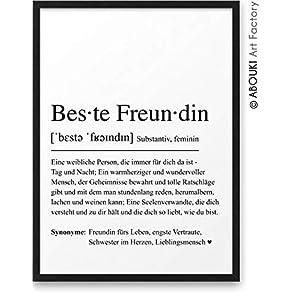 BESTE FREUNDIN Definition ABOUKI Kunstdruck Poster Bild Geschenk-Idee für Frauen Freundinnen Geburtstag Weihnachten…