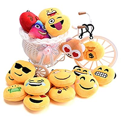 Aresmer 26 Pack Emoji Keychain Mini Plush Pillow Toys Keychain Decorations Party Supplies Favors for Kids, 2-Inch Set of 26