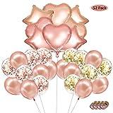 Globos de Confetti Oro Rosa Látex Globos Forma de Corazon Globo de Papel de Aluminio con Cuerdas Decoraciones de Fiesta de Ceremonia para Boda Cumpleaños Baby Shower Graduación 52 Pcs