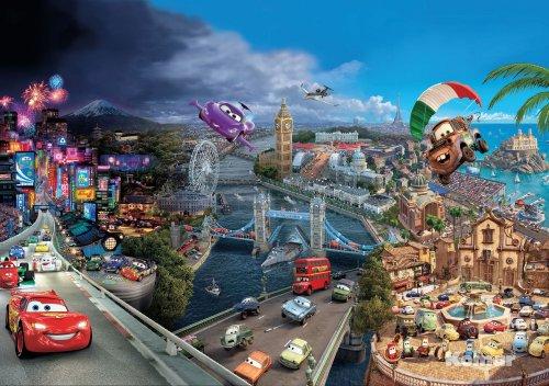 Cars World - Disney Papier Peint Photo - Wall Paper - Mural 368 x 254 cm - 8 pièces. Une boîte de colle et une guida. appianati