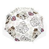 EZIOLY Regenschirm mit englischen Bulldoggen und Pfotenabdrücken, leicht, UV-Schutz, Sonnenschirm, für Herren, Frauen und Kinder, Winddicht, faltbar, kompakt