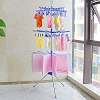 Zerone Collapsible Clothes Airer with Clips Portable 3-Tier Towel Clothes Drying Rack for Hanging Laundry