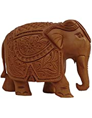 LAVANSHI Home Decorative Items With House Vastu Positivity Energy And Productivity Good Luck Enabled Idol For Living Room Bedroom And Office Decor Accessories Showcase Handcrafted Indian Fengshui Items For Home kadamba Wood Elephant Idol Decorative Showpiece for Home (Brown)