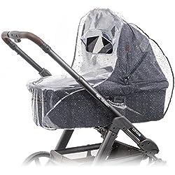 Habillage pluie confort universel pour landau, nacelle (par ex : Bébé confort, Cybex), bonne circulation de l'air, fenêtre de contact avec auvent, montage facile, sans PVC.