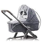Universal Komfort Regenschutz für Kinderwagen/Babywannen (z.B. Hauck, Hartan, ABC-Design uvm.) | Gute Luftzirkulation, Sichtfenster mit Vordach, Schadstofffrei