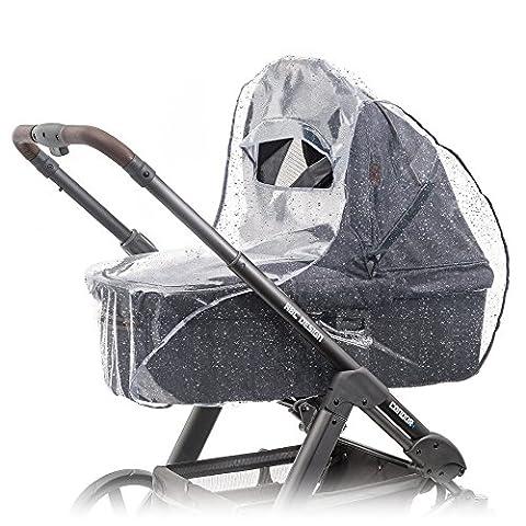Habillage pluie confort universel pour landau, nacelle (par ex : Bébé confort, Cybex) | bonne circulation de l'air, fenêtre de contact avec auvent, montage facile, sans