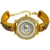 Gauri's A Indian Traditional Hand Craved Watch with Zircon Gold Plated Bracelet Girl's AIW702