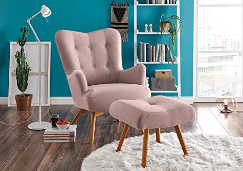 lifestyle4living Sessel in rosafarbenem Webstoff, inkl. Hocker | Der perfekte Sessel für entspannte, Lange Fernseh- und Leseabende. Abschalten und genießen!