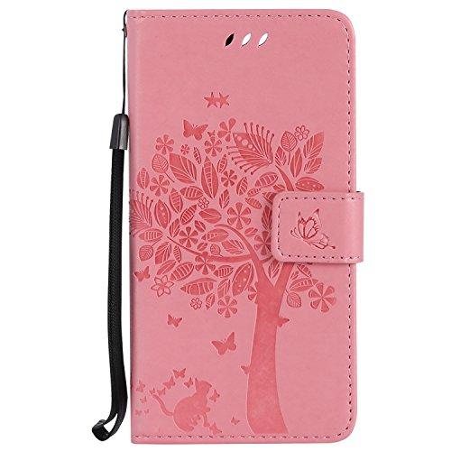Nancen Wallet Case Tasche Hülle für Huawei Honor 8 (5,2 Zoll) Flip Schutzhülle Zubehör Lederhülle mit Silikon Back Cover PU Leder Handytasche im Bookstyle Stand Funktion , Schmetterling Schnalle Magnet (Cheshire Katze Brillen)