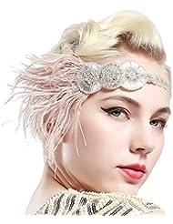 Babeyond Damen Feder Stirnband Retro 1920s Flapper Kopfstück Great Gatsby Damen Feder Haar Zusätze