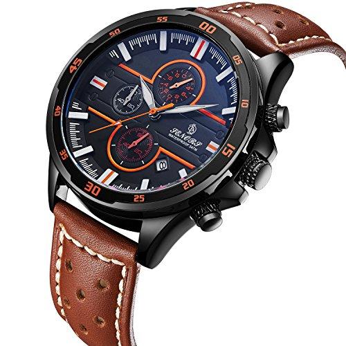 Reloj, relojes para hombre Classic Sport Fashion Leather Band relojes con calendario multifunciones impermeable reloj de pulsera de cuarzo para hombres (Marrón Negro)