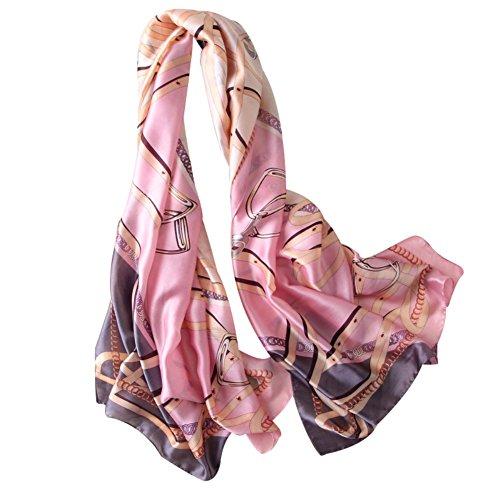 Bbl345dLlo Damen Strandtuch Schal, Art und Weisefrauen machen künstlichen silk Schal-Sommer-Strand-Abdeckungs-Verpackungs-großen Schal glatt Pink (Abdeckung Pareo)