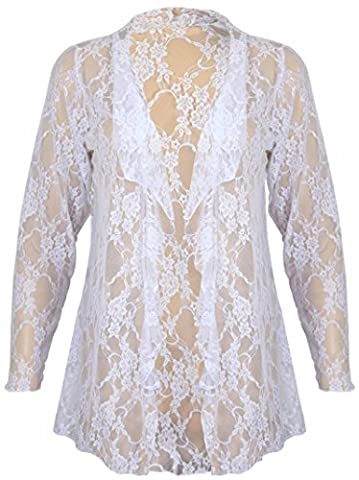 New Womens Plus Size Floral Pattern Lace Cardigan Long Sleeve Womens Waterfall Open Top White Size