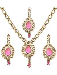 Super Shop Pink Stone Kundan NEcklace Set With Mangtika