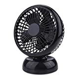 USB Desk Fan Fochea 6 Inch Small Fan Quiet Table Personal Fan with Retractable 1m USB Cable,2 Speed Setting,360 Degree Rotation for Laptop Notebook PC Desktop Tabletop Home Office Travel,Black
