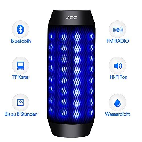 LED Lautsprecher - MEMTEQ Bluetooth Lautsprecher mit Radio Tragbarer Lautsprecher Radio Bluetooth Box LED USB Wireless Bluetooth Lautsprecher Freisprechfunktion Stereo Wasserdicht NFC Smartphone Lautsprecher iPhone Lautsprecher mit SD Karten Slot