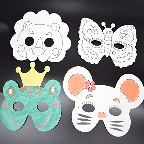 Zuzer 12 PCS Tiermasken DIY Papiermasken Tiere Kinder Masken Zum Malen und Gestalten Beste Dekorationen zum Geburtstag Halloween Weihnachten