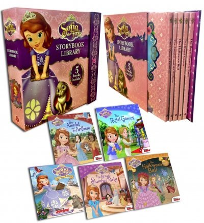Disney Junior Sofia the First Story Book Library Collection 5 Books Set (The Royal Slumber Party, The Royal Games, Halloween Ball, Amulet and the Anthem, Once Upon a Princess) by Disney (2014-07-13)