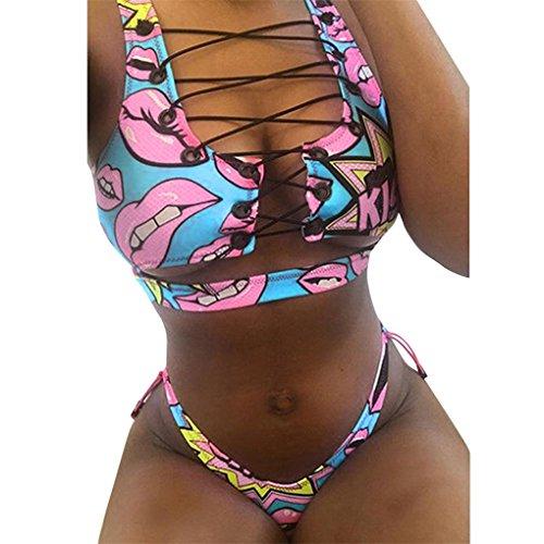 Damenmode Bademode Bikini für Frauen Mädchen Badeanzug JYJM Schnür-Set Push-Up gepolsterter BH-Mesh-Badeanzug Kleiner hässlicher bedruckter mit-Split-Strap (M, Blau)