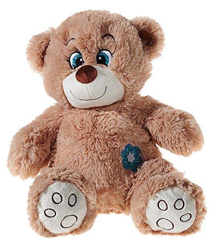 Heunec 140363-Flower Power Teddy glitter, Medium, colore: marrone/blu