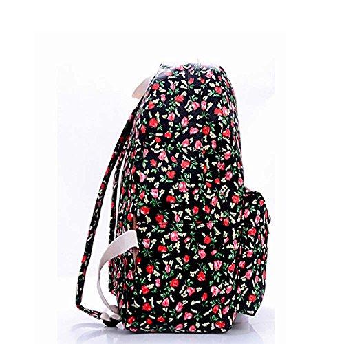 OUFLY Print Blumenrucksack gedruckt Leinwand Rucksack Schulter Satchel Schultasche Daypack Schwarze & Tulpe Blume