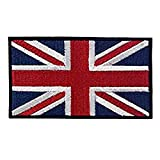British Union Jack bestickte Applikation England Flagge UK Großbritannien Sew auf Patch Union Jack Britische Flagge Badge für Uniform Kleidung Jacke Shirt Blue (Black Edge)