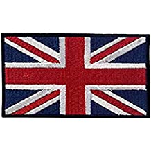 Bandera británica bordado Applique bandera de Inglaterra Reino Unido gran Bretaña Sew On patch bandera de Reino Unido Diseño de la bandera de uniforme ropa chaqueta camiseta Blue (Black Edge)
