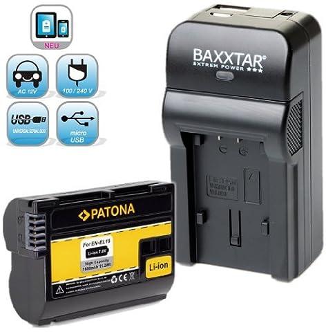 Baxxtar RAZER 600 II Ladegerät 5 in 1 + 1x PATONA Akku für Nikon EN-EL15 passend zu -- Nikon D7000 D7100 D7200 D500 D600 D610 D800 D810 Nikon 1 V1 -- NEUHEIT mit Micro-USB Eingang und USB-Ausgang, zum gleichzeitigen Laden eines Drittgerätes (GoPro, iPhone, Tablet, Smartphone..usw.) !!