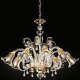 MIA Light Murano Kronleuchter Ø850mm/ Antik/Florentiner/ Amber/Glas/ Lampe Leuchte Lüster Mundgeblasen Lüsterlampe Lüsterleuchte