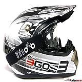 Caschi Moto -3GO E66x Nuovi Casco Cross off-road Enduro Quad Casco Motocross Sportivi MX Scooter con Occhiali (L, Nero)