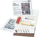 Reemara Linolschnitt, Linoleum Starter Set: 5 Federn, Sicherheitshalter, Walze, Linolplatte, Farbe