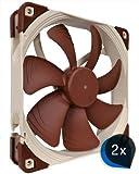Noctua 2 x NF-A14 FLX (Bundle) Leise 140x140x25mm Hochleistungs-Gehäuselüfter, 3 pin Molex, hoher Luftdurchsatz, Low Noise, Computer-Einbau da Standard-Gehäuse