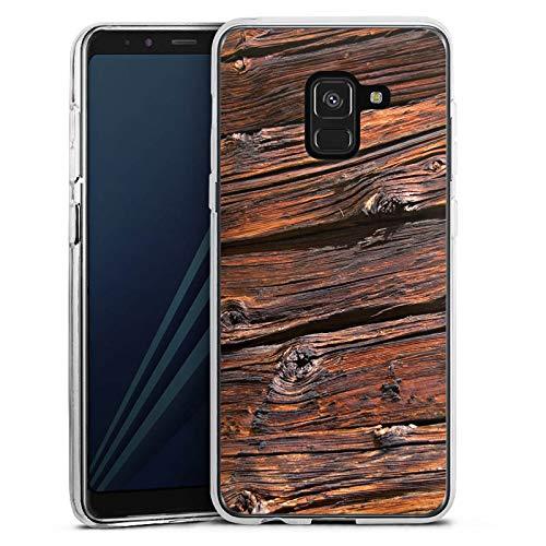DeinDesign Silikon Hülle kompatibel mit Samsung Galaxy A8 Duos 2018 Case Schutzhülle Verwitterte Holzplanken Holz Look Holzboden