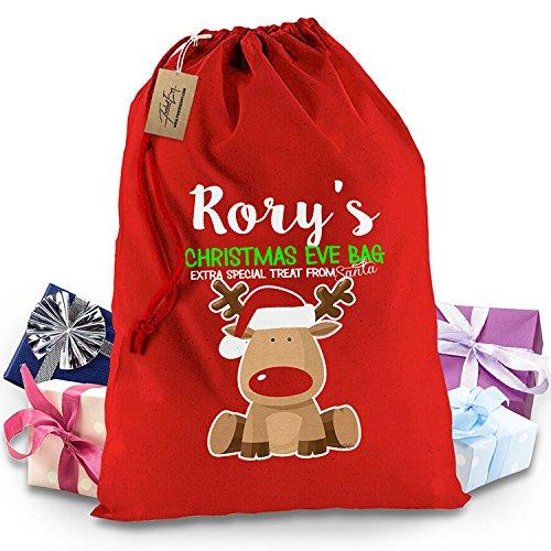 Personalised vigilia di Natale Rudolph Rosso Calza Natale Babbo Natale (Tradizioni Vigilia Di Natale)