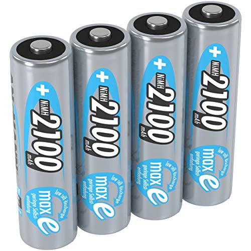 ANSMANN Akku AA Mignon 2100mAh 1,2V NiMH  - wiederaufladbare Batterien AA Akkus maxE (geringe Selbstentladung & vorgeladen) ideal für Spielzeug, Funk-Tastatur/Maus, Wii & Xbox Controller (4 Stück)