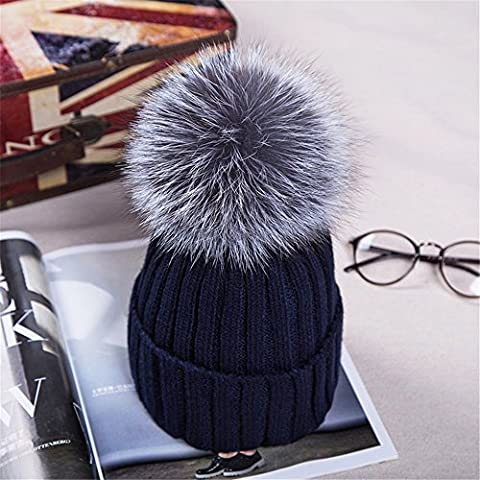 Damen Mädchen Winter Mütze Strickmütze Beanie mit Pom Pom Winter Warm Ski Snowboard Hat Reisen Home Office Gebrauch, acryl, marineblau, M