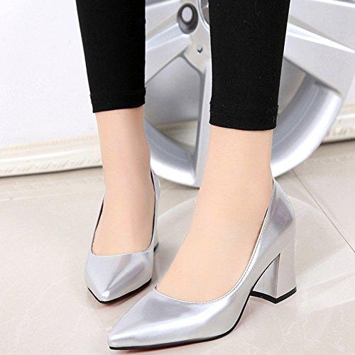 Damen Pumps Spitz Zehen Slip On Blockabsatz Lackleder Einfache Lässig Schuhe Silber