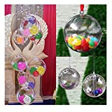 ODN 12PCS Christmas Trees Decorations Flower Transparent Open Plastic Clear Bauble Ornament Gift Present Box Decoration 60MM