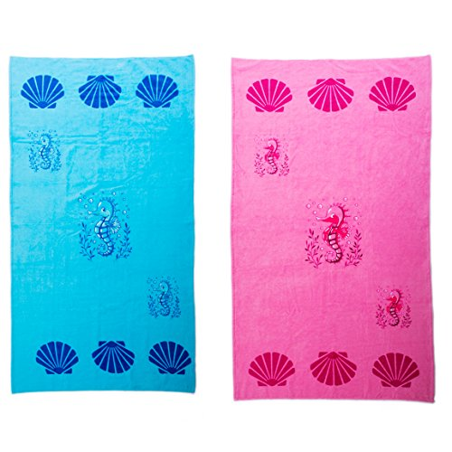 designer beach towels. Beach Towel Large Cotton Summer Pool Towels Seahorse With Shells Pattern By Airee Fairee(Pink And Blue Two Pack) Designer