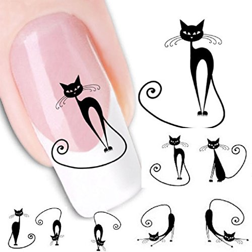 Internet Cat Transfer Water Slide Decal Sticker Nail Art Conseils Pour Decor XF1442