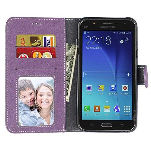 Coque pour Samsung Galaxy S3 i9300, Coffeetreehouse Givré couleur unie Coque/ Housse/ Case/ PU Leather Coque Flip Magnétique Portefeuille Etui Housse de Protection Coque Étui Case Cover avec Stand Sup pourpre