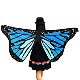 WOZOW Damen Schmetterling Schmetterlingsflügel Kostüm Faschingkostüme Poncho Schal Tuch Umhang für Party Cosplay Karneval Fasching (Blau)