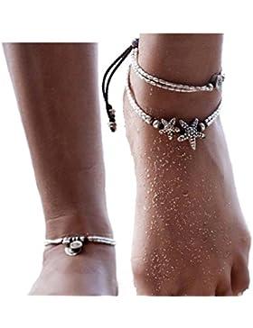 mingjun Boho Rune Seestern Fußkettchen Buddha Fuß Schmuck Knöchel Armband für Frauen Sommer Barefoot Beach Fußkettchen