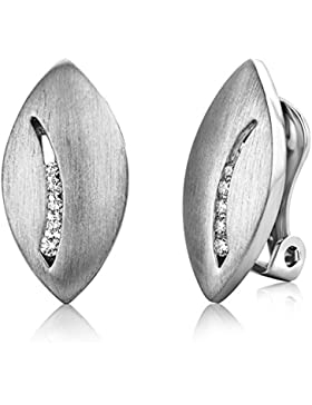 Miore Damen-Ohrclip 925 Sterling-Silber matt mit Zirkonia