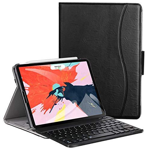 Ztotop Tastatur Hülle für iPad Pro 12.9 2018(3. Generation),Premium Leder Abnehmbare Bluetooth Tastatur Automatische Schlaf/Wach Schutzhülle für iPad Pro 12.9 Zoll 2018 Tablet(Schwarz) -