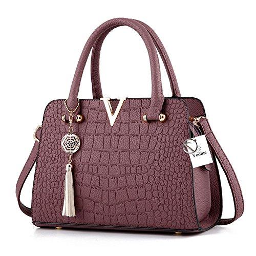 Borsa a mano con manico Yoome da donna per borse a tracolla in coccodrillo Donna con tracolla a mano con nappa in camoscio - Viola Viola